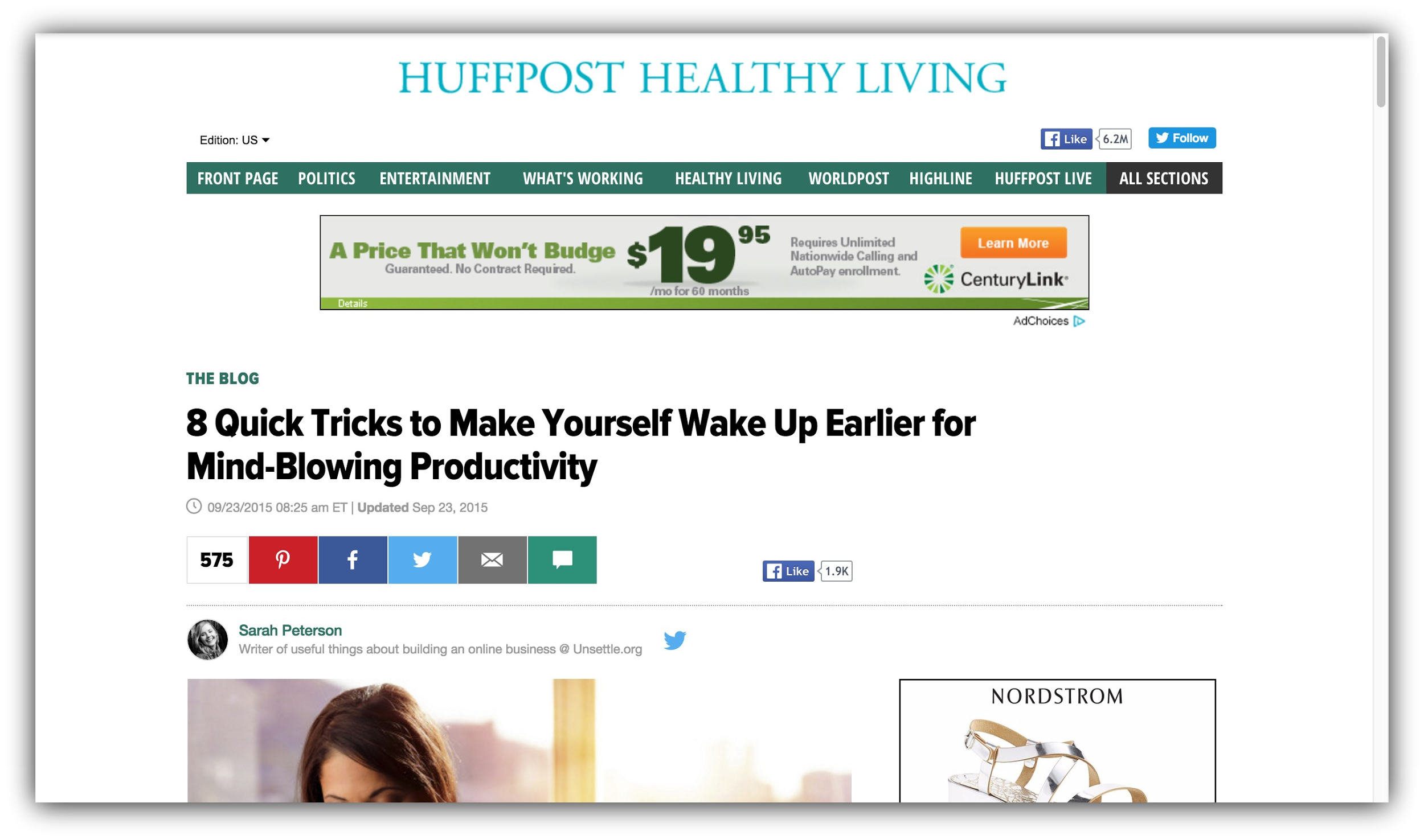 huffpost healthy living article