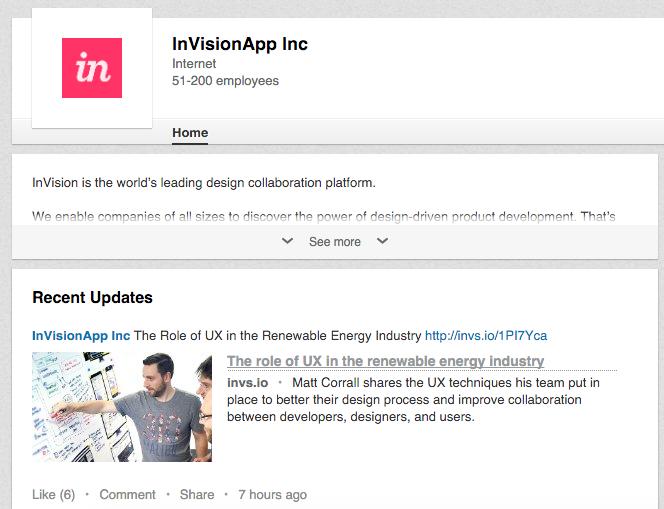 linkedin company page invisionapp.com