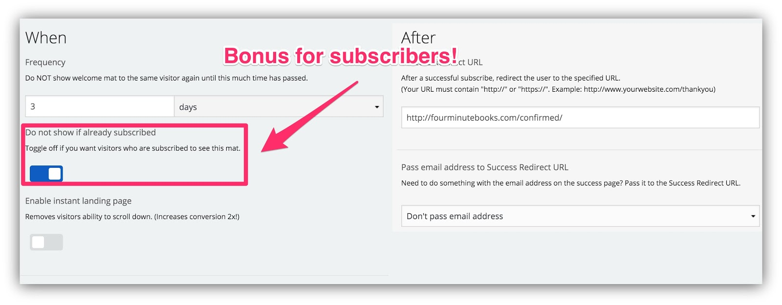 show popup to subscribers
