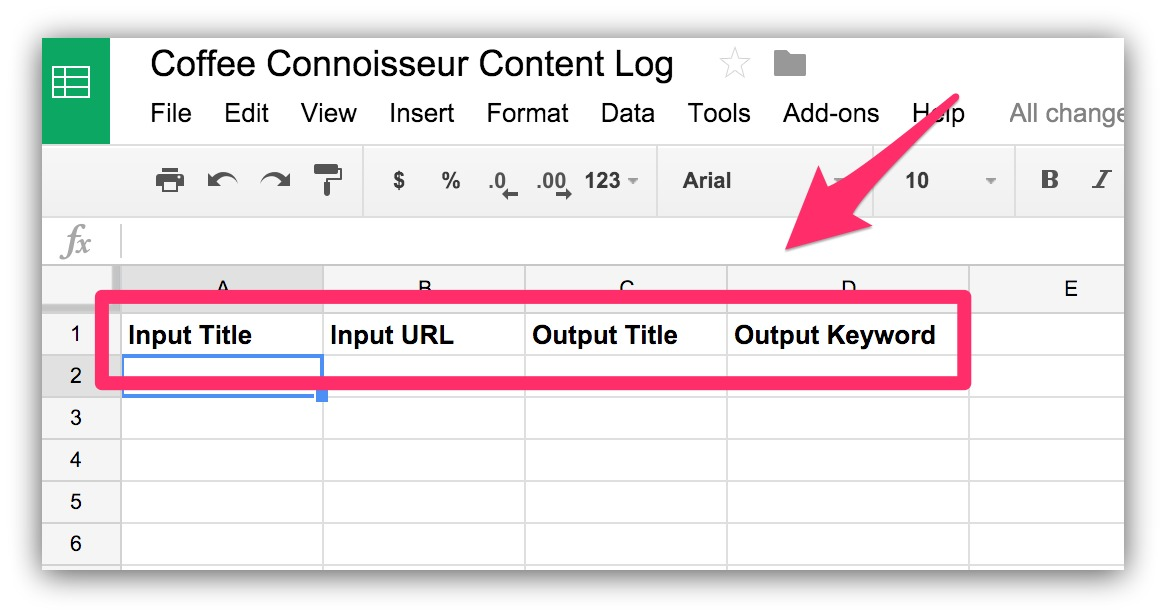 example content log spreadsheet