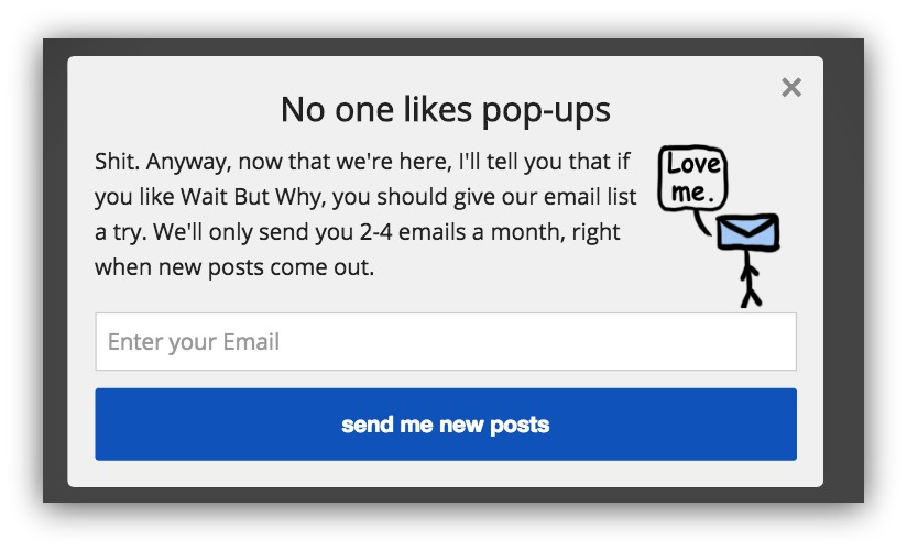 Wait But Why Pop-up example