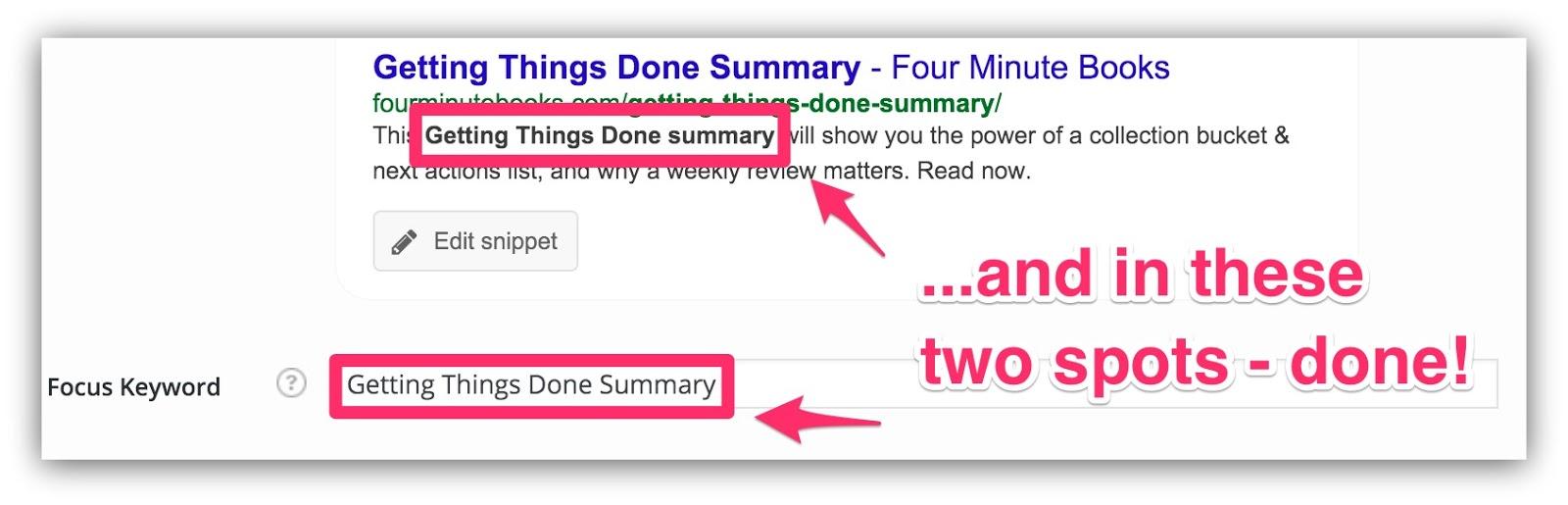focus keyword view in google