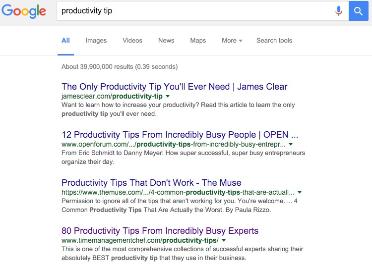 productivity tip google ranking