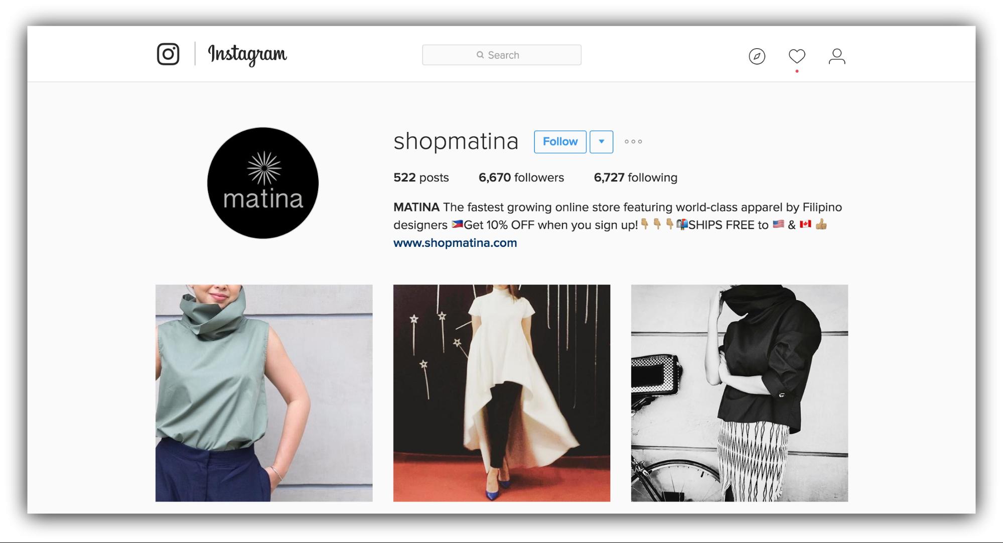 shopmatina instagram
