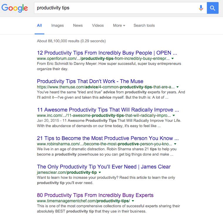 productivity tips google ranking