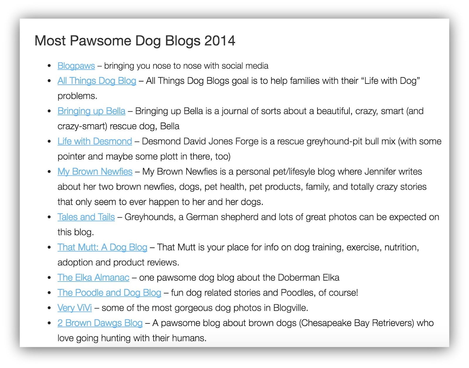 top dog blogs in 2014