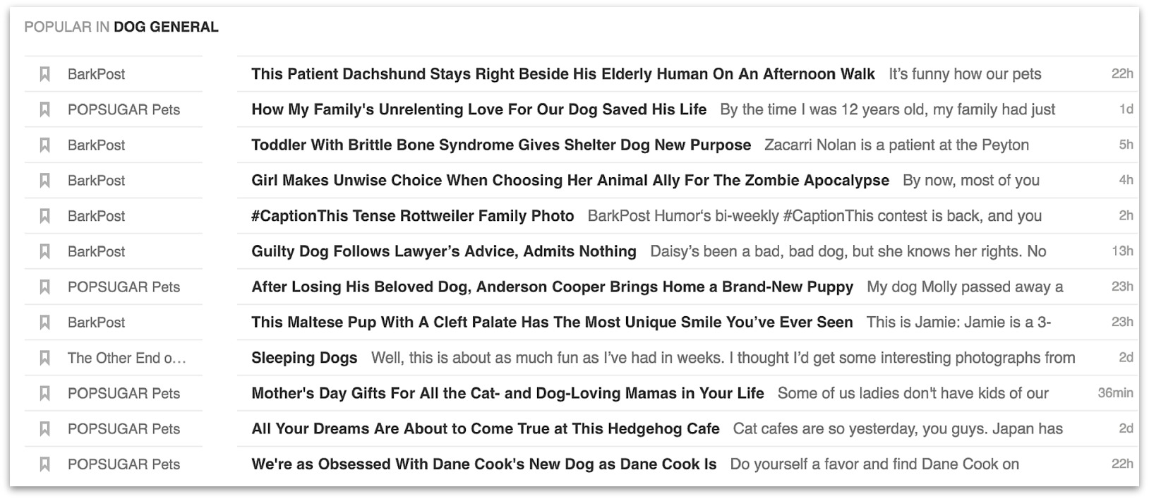 feedly dog blogs