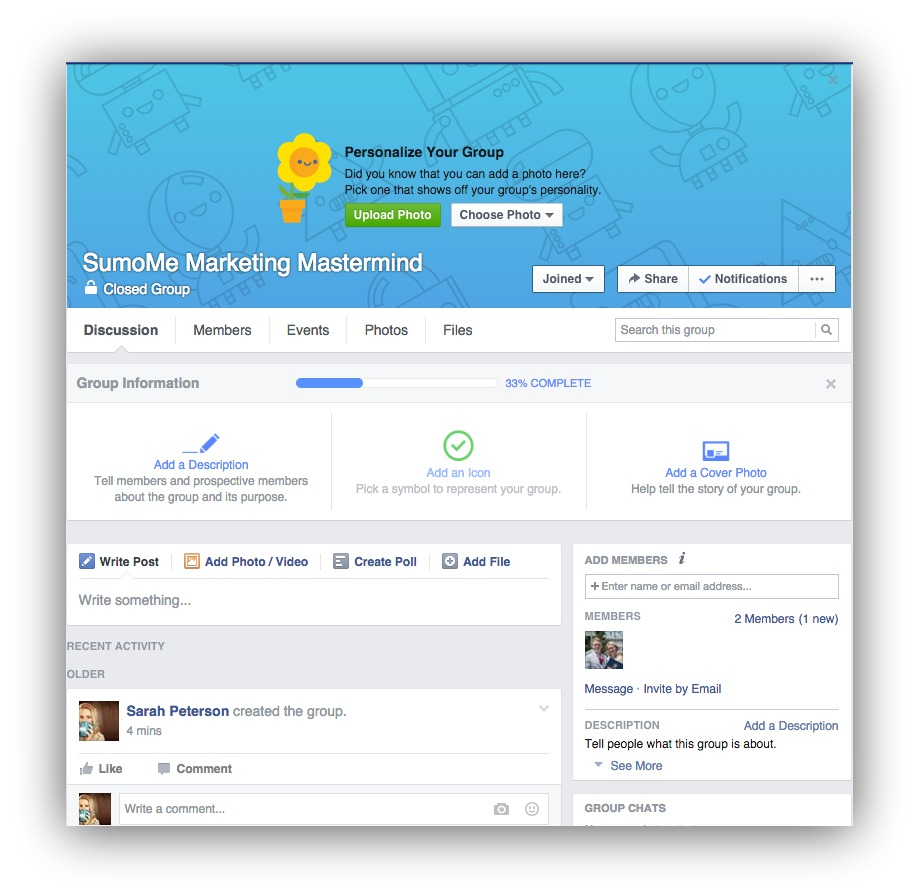 how to create a closed facebook group