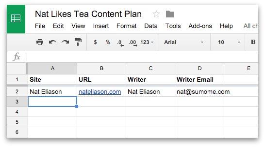 content plan worksheet