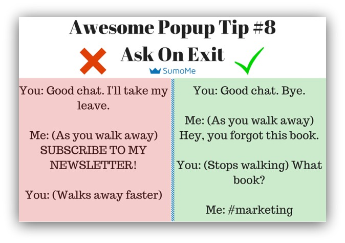 Pop-up tip ask on exit