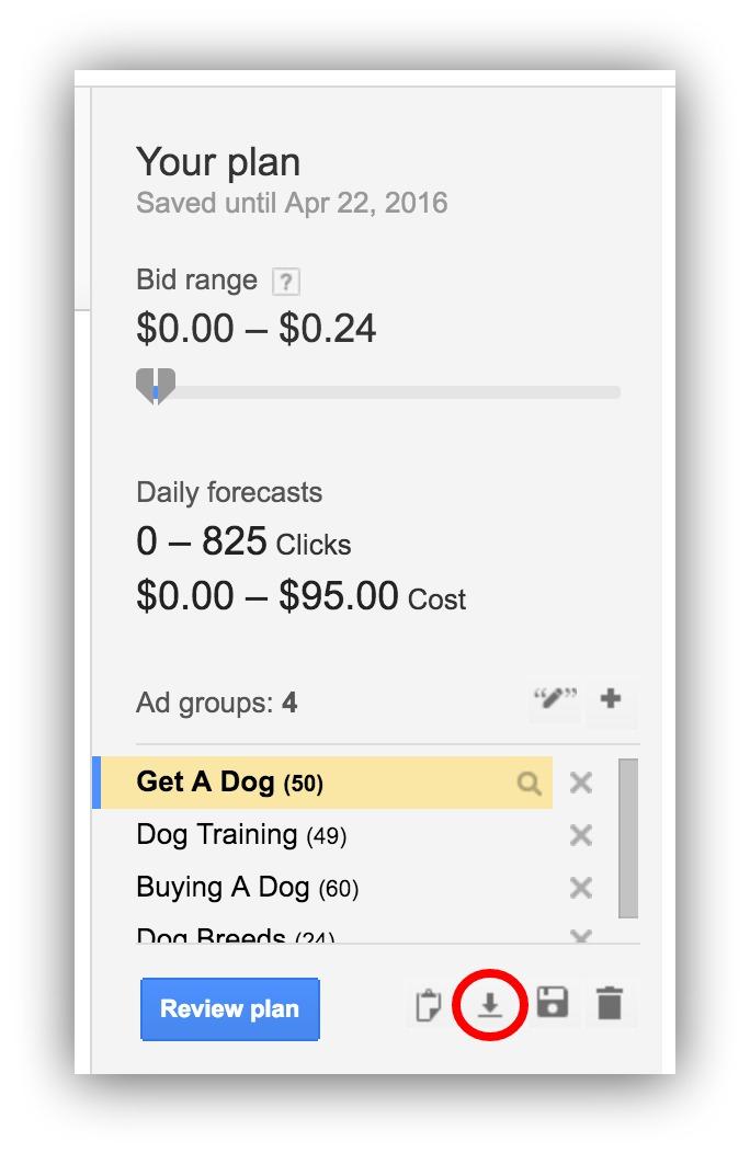 google adwords bid plan