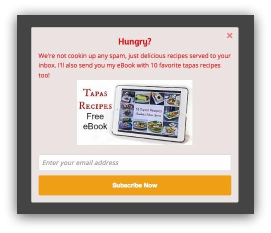 cookbook popup example