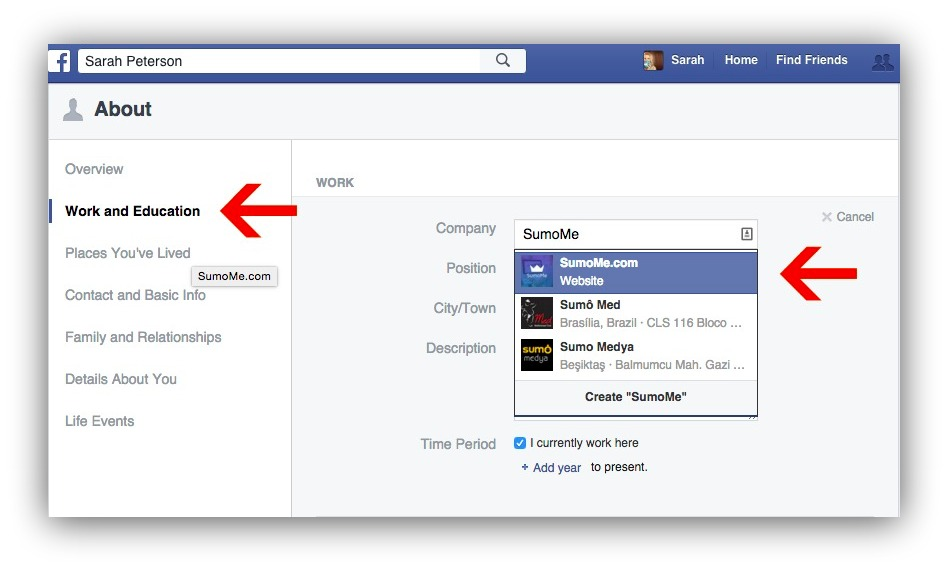 how to update facebook info