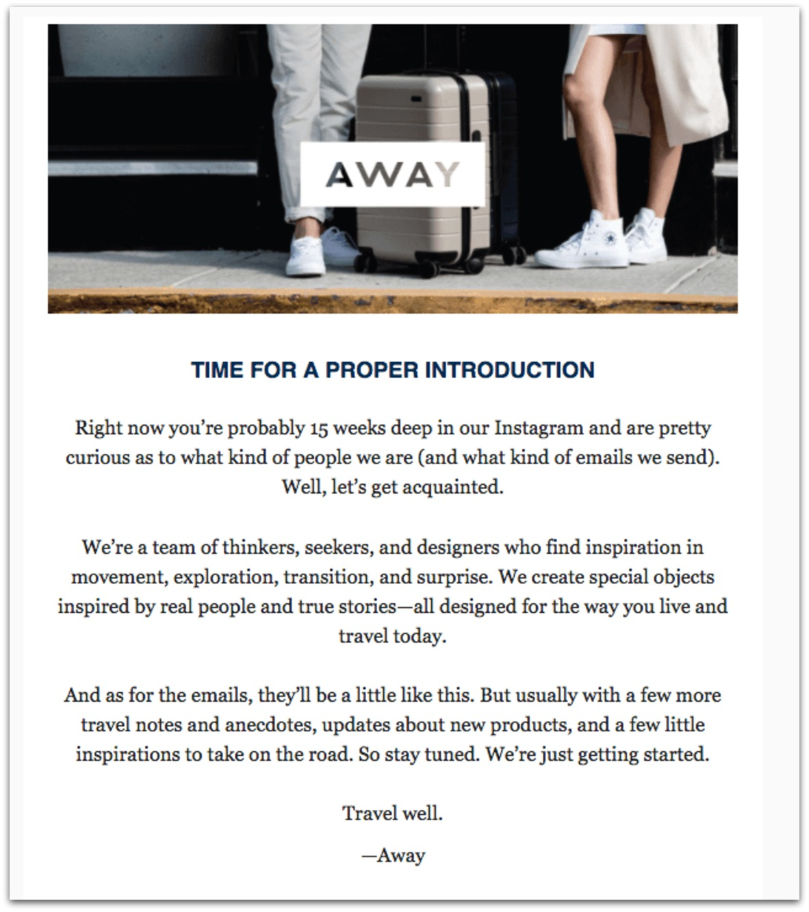 away email example